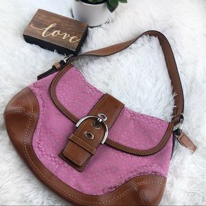 COACH vintage tan & pink signature hobo purse